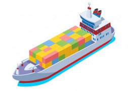 porte conteneur - coloree-port-maritime-bateaux
